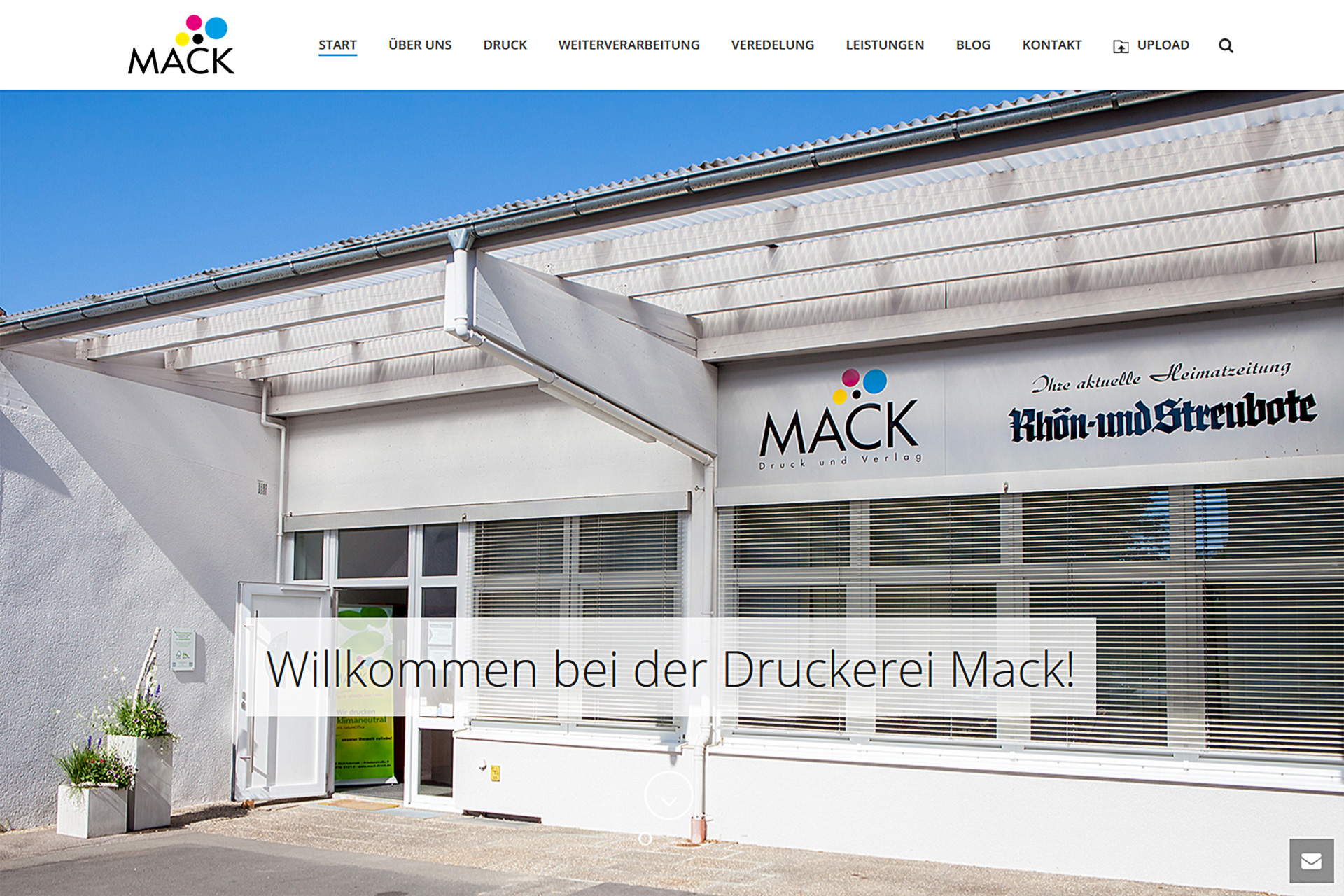 Die neue Website - Screenshot
