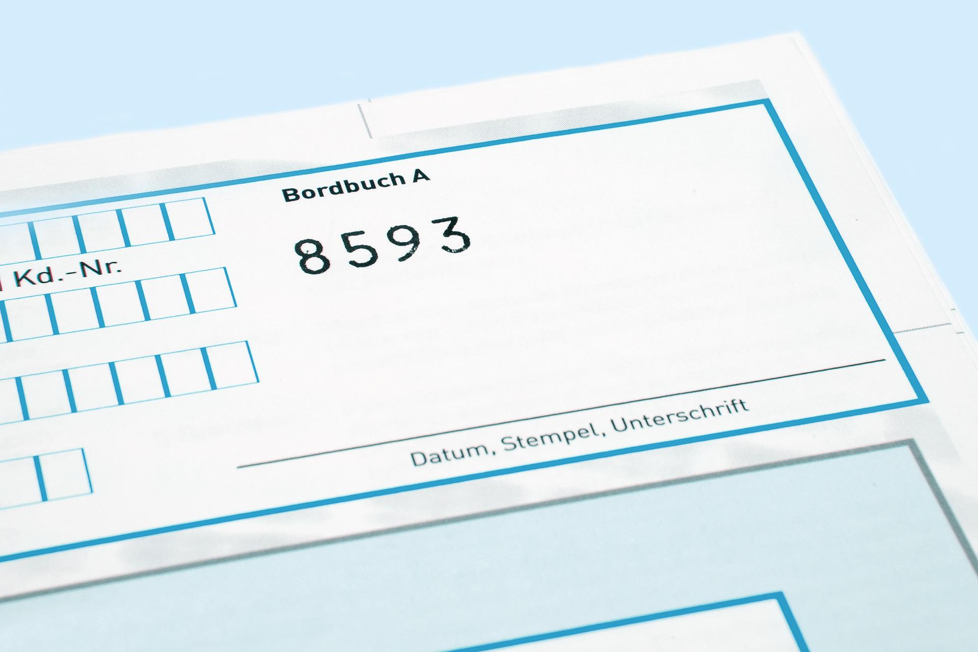 Personalisierte Drucksachen - Beispiel Bordbuch Autogarantie